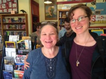 Teri (to the right) with writer/artist/facilitator Dixie Lubin in the Raven Bookstore in Lawrence, KS